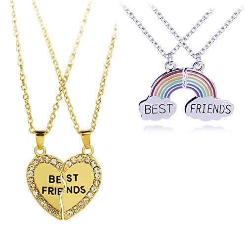 YouU Collar para Mejores Amigos, Collar de Empalme de 2 Nubes y 2 Forma de Corazón Colgante Largo Collar Arcoíris de Buena Amistad, con Caja