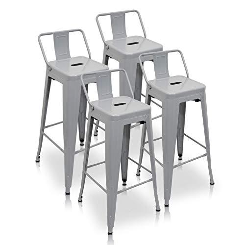 La Silla Española Tólix Pack de 4 Taburetes con Respaldo, Acero Inoxidable, Gris, 43x43x76 cm