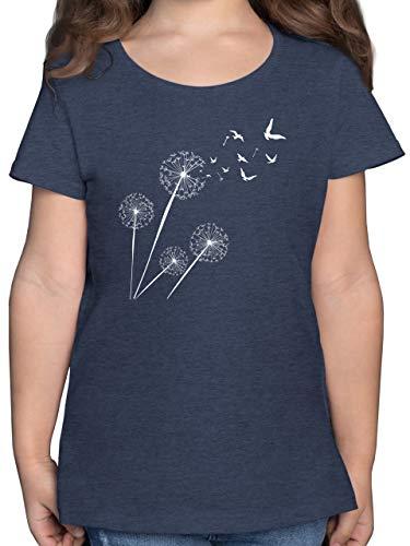 Up to Date Kind - Pusteblume Vögel - 164 (14/15 Jahre) - Dunkelblau Meliert - Blumen - F131K - Mädchen Kinder T-Shirt