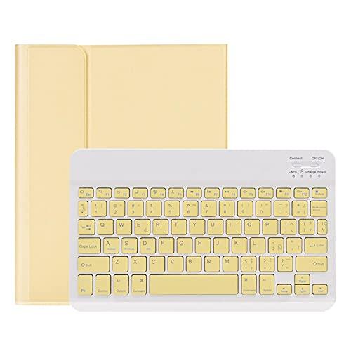Nuevo estuche para teclado para iPad 2019/2020 10.2 pulgadas, estuche protector para bolígrafo incorporado, funda magnética desmontable para teclado inalámbrico, estuche para Tableta,Yellow- Spanish