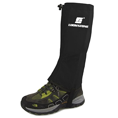 Tinksky Ein paar Unisex ultraleichte wasserdichte atmungsaktive Outdoor Ski Wandern Klettern Jagd Schnee Legging Gamaschen Bein Boot Cover - Größe L (schwarz)