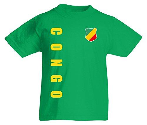 Kongo Congo Kinder T-Shirt Trikot Wunschname Wunschnummer (Maigrün, 152)