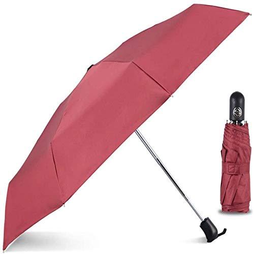 Paraguas Quíntuple Automático De Ocho Huesos, Ultraligero Mini Paraguas para Hombres Y Mujeres, Simple, Ligero, Plegable, para Lluvia, Portátil De Doble Uso(Color:Rojo)