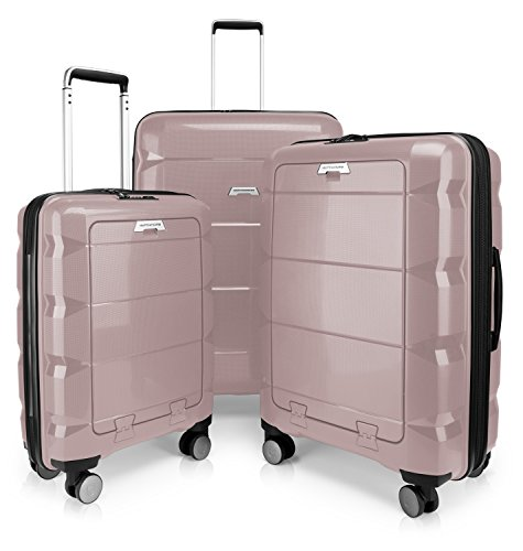 HAUPTSTADTKOFFER - Britz- Set of 3 Hard-Side Luggages Trolley Hardside Hard Shell Suitcase Expandable, TSA, (S, M & L), Old Pink