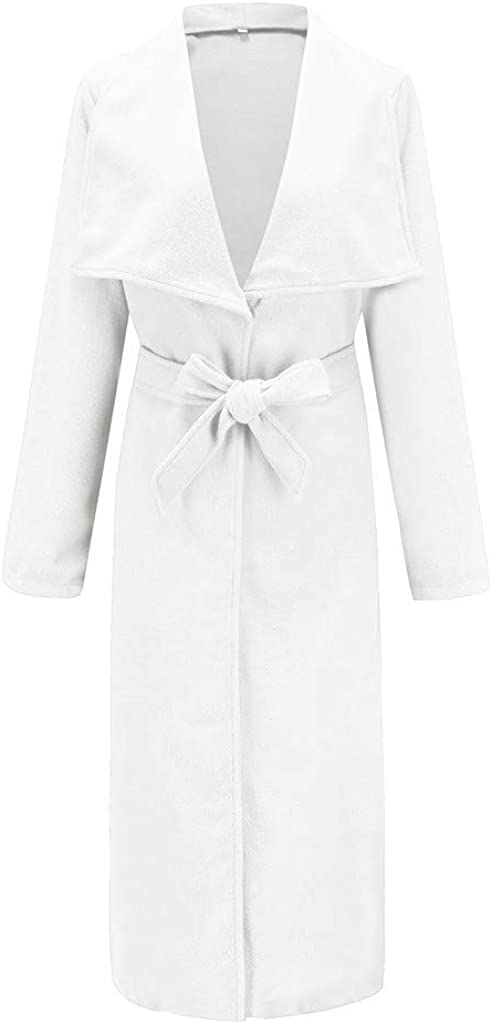 CANDLLY Mäntel Damen, Revers Button-down Langarm Jacken Damen Mäntel Gürtel Lange Ärmel Einfarbig Cardigan Winter Langer Mantel mit Tasche Windbreaker Parka Solid Cloak Coat Weiß