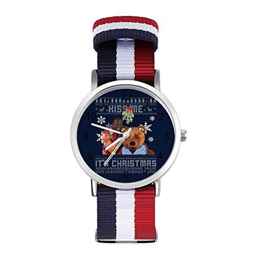 Dave Benson Phillips Kiss Me Its Christmas Strickmuster Freizeit Armband Uhren Geflochtene Uhr mit Skala