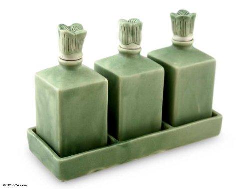 NOVICA Floral Ceramic Oil Bottles, Green, Jade Bali Lotus' (Set of 3)