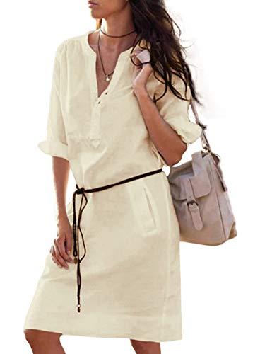 SOMTHRON Dames V-hals blouse-jurk katoenen linnen knopen hemdjurk