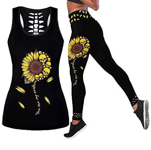 Chaleco Hueco de protección Solar con Calavera Impresa Digital en 3D Chaleco Sexy para Mujer Chaleco de Moda para niñas Ropa Tanktops n Leggings XL
