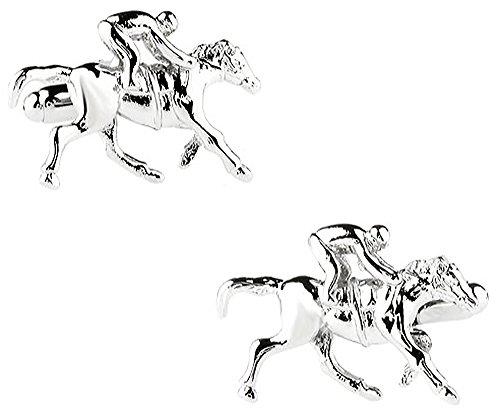 Ashton and Finch Gemelli in Argento con Corse di Cavalli in Una Lussuosa Scatola di Presentazione. novità a Tema Animali Sportivi a Tema