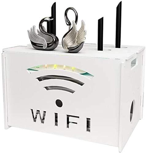 LULUDP USB Hub Cable de Carga Conector Almacenamiento Enrutador inalámbrico Set Top Box WiFi Tableta Montado en Rack Organizador de Rack Soporte de Pared Colgante con 2-1