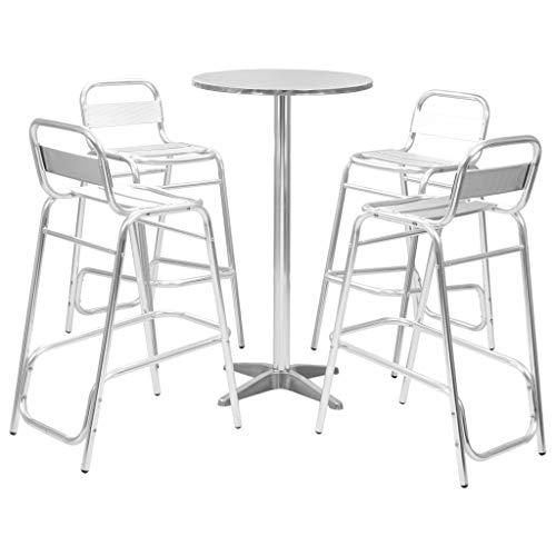 yorten 5-TLG. Bar-Set mit Rundem Tisch Aluminium, Essgruppe, Gartengarnitur Sitzgarnitur, Stühle Stapelbar (Silbern)