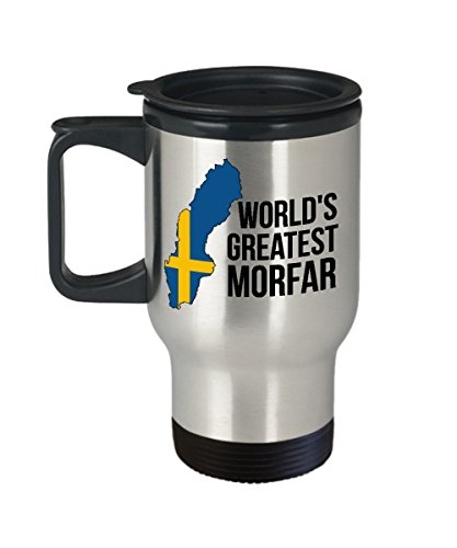 Sweden Travel Mug - Morfar Swedish Flag Insulated Portable Coffee Cup For Men - Best Birthday Fathers Day Christmas Gift For Scandinavian Heritage Grandfathers - Proud Nordic Viking Lover