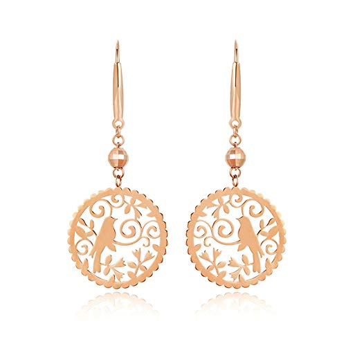 KnSam 18 Karat (750) Rotgold Ohrringe Hohle Runde Elster Gold Ohrringe 750 Geeignet Für Alle Arten Von Geschenken Rose Gold