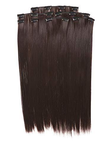 Prettyland 7-teilg SET Statik-frei Clip-In 50cm glatt lang-Haar strähnen Haarteil Haarverlängerung Schwarz-braun BK04
