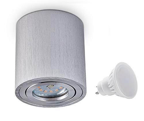 Palermo – Lámpara de techo, foco led de 7W SMD, forma de cubo, luz cenital (plata, redondo, 7W)