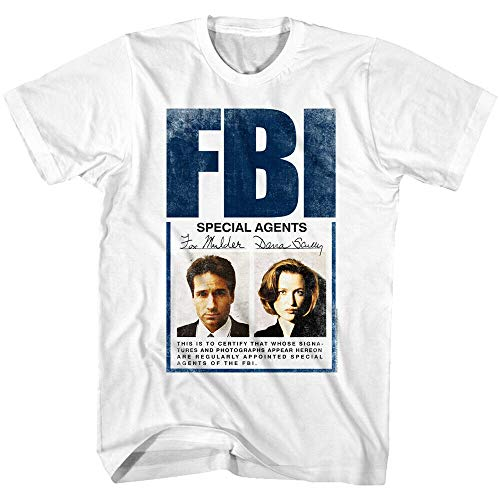 The X Files FBI Special Agents Fox Mulder Dana Scully Mens T Shirt ID Photograph