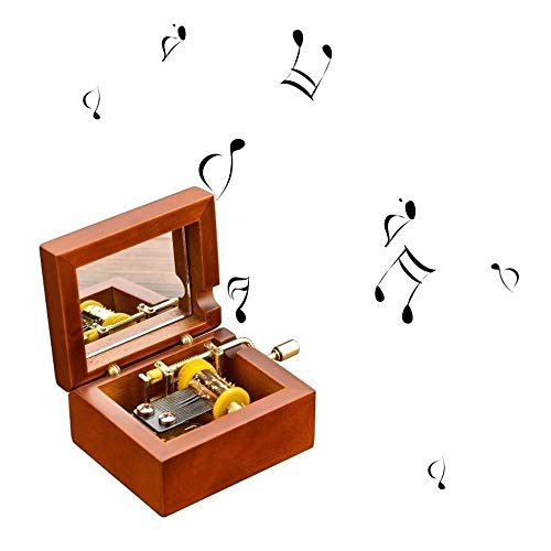 Houten Jewelry Musical Box Met Spiegel 18 Nota Wind Up Metal Movement QPLNTCQ (Color : Happy Birthday, Size : Free)