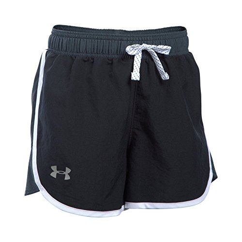 Under Armour Girls' Fast Lane Shorts, Black (001)/Reflective, Youth Medium