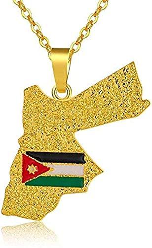 LDKAIMLLN Co.,ltd Collar Fashion Kingdom Jordan Mapa y Bandera Collares Pendientes para Mujeres/Hombres Color Dorado Joyería del país Collar Colgante Regalo para Hombres Mujeres Niñas Niños