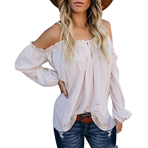 ESAILQ Frauen Beiläufig Schulterfrei Solide Long Sleeve Damen Lose Tops Tshirt Bluse(Medium,Weiß)