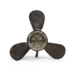 CC Home Furnishings 12 Elica Orologio Antique-Style Metal Propeller Nautical Desk Clock