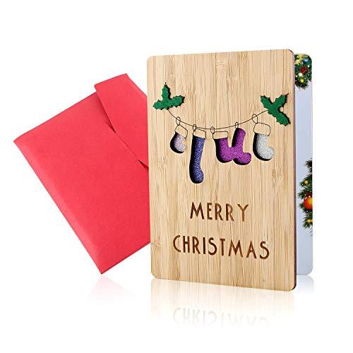 Holz-Grußkarte, Grußkarte aus Holz, Weihnachtskarten, Frohe Weihnachten Karte, Echte Bambus- und Holzgrußkarten, Bunte Weihnachtsmotive, Weihnachtsgeschenke und -Wünsche, Weihnachtsthemen (Socke)