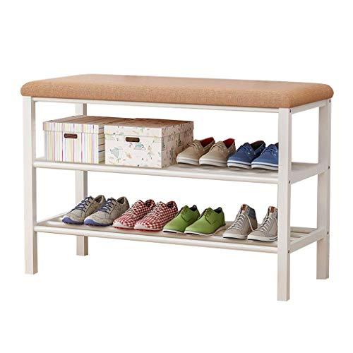 HLL Zapateros Banco de Zapatos de Metal con Asiento de Esponja 4-5 Pares Estante de Almacenamiento de Zapatos Taburetes Pequeños Minimalistas Modernos, 2 Niveles, Almacenamiento de Zapatos en el Pasi