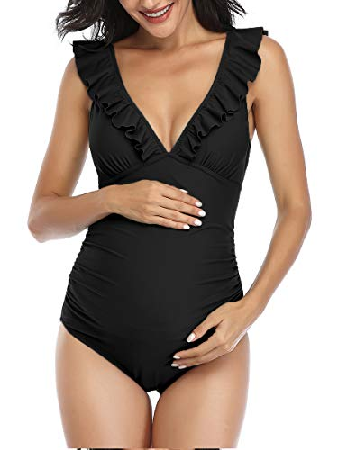 Maillot de Bain Grossesse 1 Pièce pour Femmes Enceintes Imprimé à Volants Maternité Maillot Noir XL