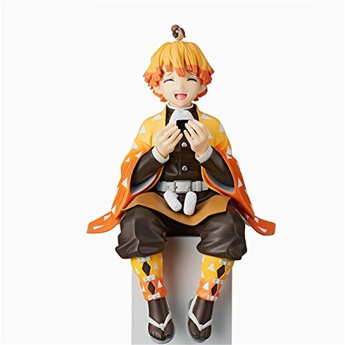 MaiQiLai 14cm Figura de Anime Demon Slayer Agatsuma Zenitsu Eat Rice Balls PVC Figura de acción Juguetes Cumpleaños Anime Regalo Adornos de Escritorio Juguetes Estatuas