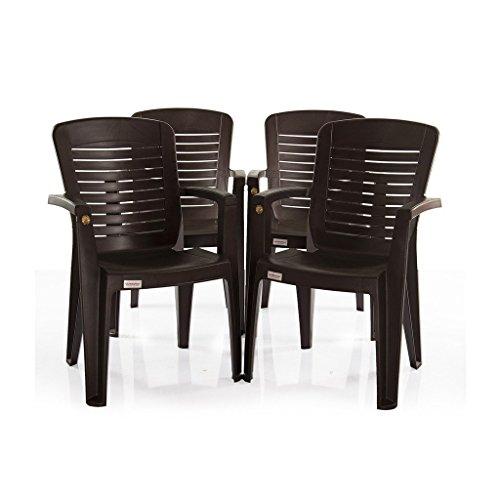Varmora Plastic Ergo Chair (Dark Brown, Standard Size) - Set of 4