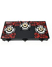SuryaJwala AUTO IGNITION ISI certified 3 Burner 8MM Toughened Glass Gas Stove (LPG Compatible)
