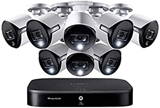 Lorex Weatherproof Indoor/Outdoor Home Wired Surveillance Security System, 4K Ultra HD Cameras w/Night Vision, Advanced Motion Detection & Smart Home Voice Control (8 Pack) –Incl. 2TB 8 Channel HD DVR
