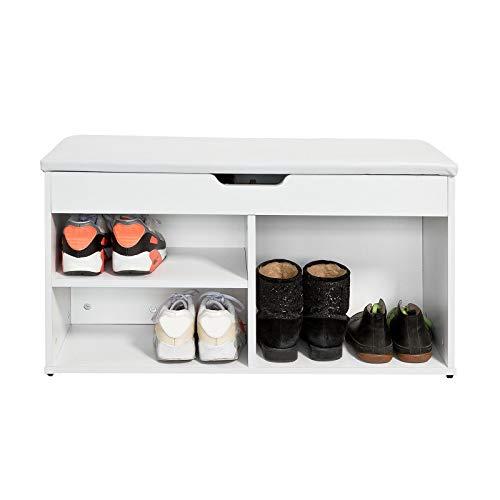 SoBuy FSR27-W Schuhbank zur Schuhaufbewahrung mit Sitzfläche Sitzbank 3 Fächer Truhe Schuhschrank Schuhtruhe weiß Belastbarkeit 120 kg BHT ca.: 80x47x30cm
