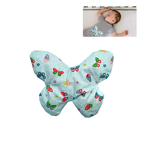 "Saquito térmico anti cólicos bebé ""Mariposa verde""- relleno de 170gr de huesos de cereza – Para aliviar cólicos, gases, dolores de barriga de bebés, etc – 18x18cm – 100% algodón"