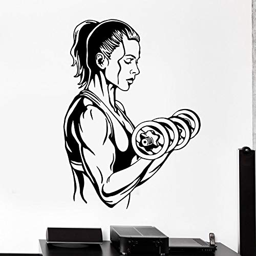 zzlfn3lv Gym Sticker Dumbbell Fitness Decal Body-Building Posters Vinyl Wall Decals Pegatina Quadro Parede Decor Mural Gym Sticker42*58cm