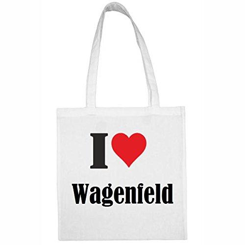 Tasche I Love Wagenfeld Größe 38x42 Farbe Weiss Druck Schwarz