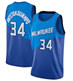 XHDH Jerseys para Hombres - NBA Bucks # 34 Antetokounmpo Uniforme de Baloncesto Suelto y cómodo Chaleco Deportivo sin Mangas Top Camisetas,Azul,M 170~175cm