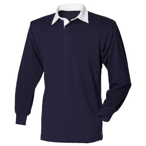 Front Row Long Sleeve Plain Rugby Shirt Navy/White L