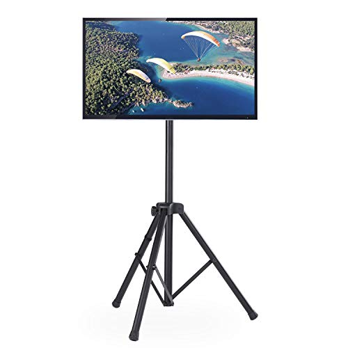 TAVR Flat Screen TV Tripod Portable Floor TV Stand for 32-60 inch LCD LED Flat/Curved Screens, Swivel Foldable Stand Mount and Adjustable Height, Hold up to 100 lbs,Max VESA 400x400m,Black