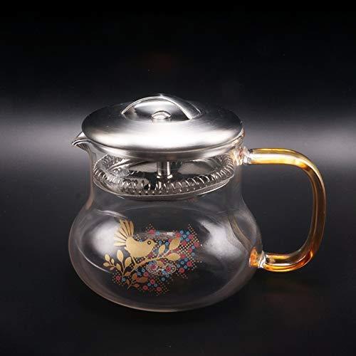 HYY-YY - Juego de Tetera de Cristal Resistente al Calor, diseño de pájaro Dorado y Flor de Acero Inoxidable, 360 ml