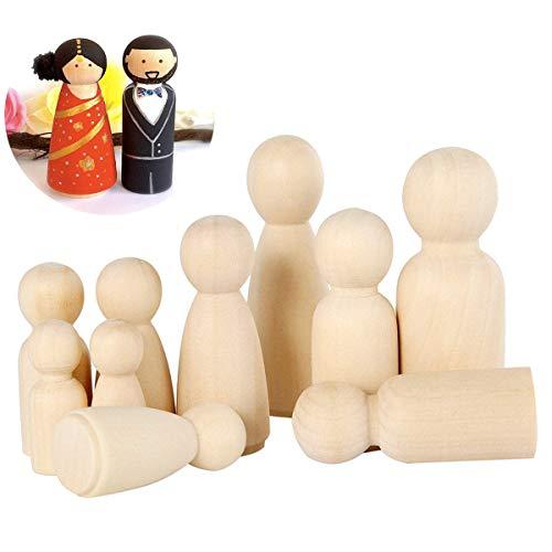 mengger Figurenkegel Holz Familie Figuren Holzfiguren Spielfiguren Zum Bemalen Basteln Puppen Spielfigur Mann Frau Junge Mädchen Kinder 40 Stück Holzkegel (A)