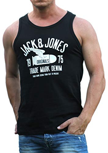JACK & JONES Herren Tank Top Print Shirt Rundhals Tee Regular Fit Muskelshirt (Bullet Black/REG Fit, 3XL)