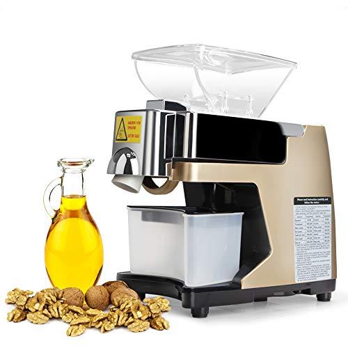 HUKOER Ölpresse Maschine Intelligente Digitalanzeige Sprachfunktion Kalt/Heiß Nuss Ölextraktor 304 Edelstahl Samen Ölpresse Home/Kommerziellen Öl Expeller (Golden)