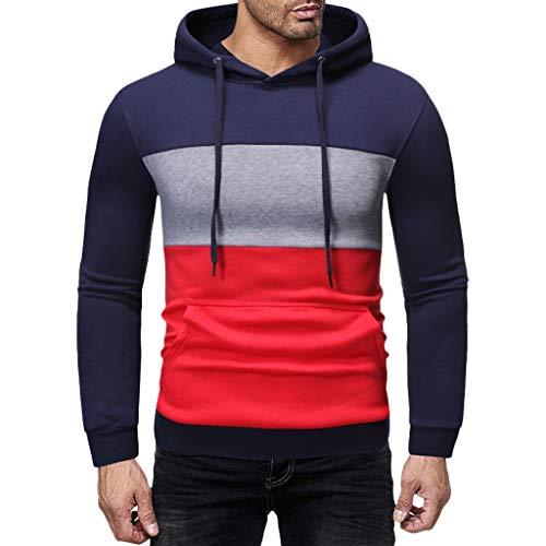 UINGKID Homme Sweatshirt à Capuche Splice Couleurs Contrastées Hoodie à Manche Longues Pull Sweats Sport Casual Outwear avec Poche pour Automne Hiver M-3XL
