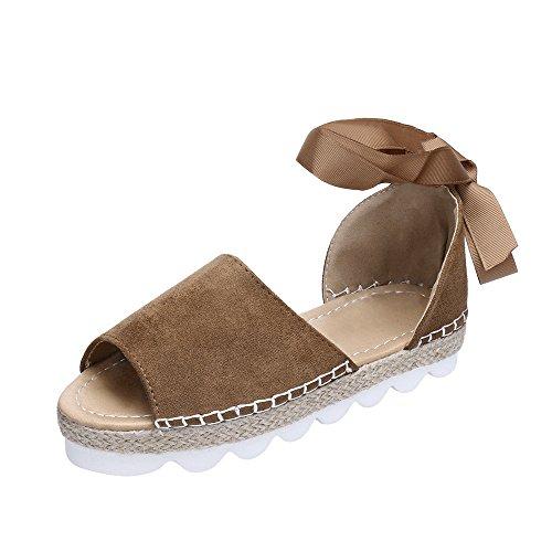 SHE.White Damen Fischmaul Sandalen mit Keilabsatz Sommer Flach Peep Toe Bequeme Kreuzgurt Geflochtene & Schnürung - Kork-Plateausohle