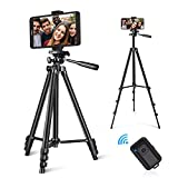 LINKCOOL Phone Tripod 50' Adjustable Travel Video Tripod Stand with Phone Mount Holder Compatible with Cell Phone Tripod, Action Camera Tripod, DSLR Tripod with Wireless Remote Shutter (Black)