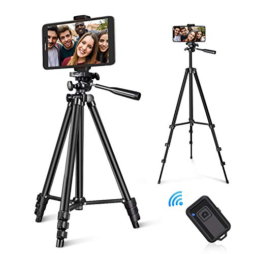 Zetong Phone Tripod 50' Adjustable Travel Video Tripod Stand with Phone Mount Holder Compatible with Cell Phone Tripod, Action Camera Tripod, DSLR Tripod with Wireless Remote Shutter (Black)