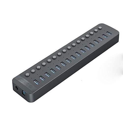 YWSZJ 16 Puertos Powered USB 3.0 Hub BC1.2 Charger Divisor USB con interruptores de Encendido/Apagado Individuales y Adaptador de alimentación de 12V / 6.5A para PC