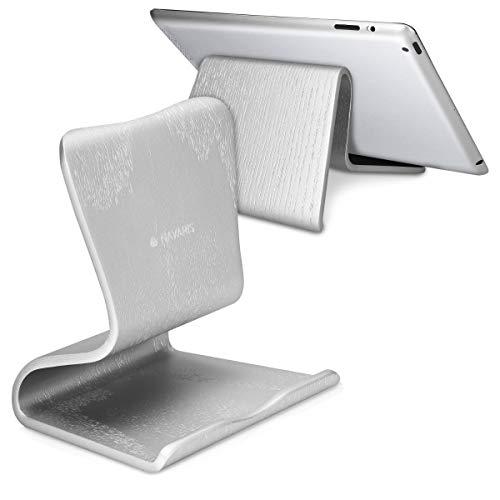 Navaris Supporto Universale per Tablet - Dock Visione Filmati in 4 Posizioni - Stand Leggio Legno di Quercia per Lettori eBook Elettronici - Argento